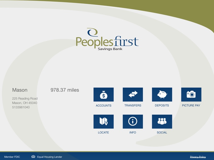 Peoples First Savings Bank Mobile Banking for iPad