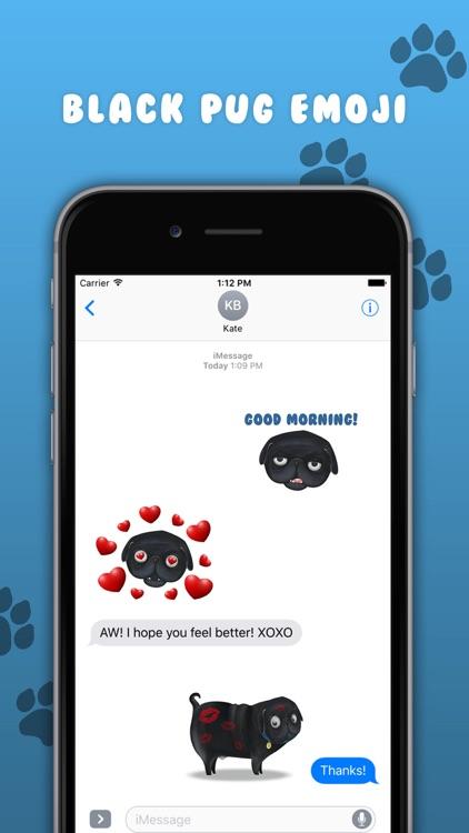 Black Pug Emoji Stickers