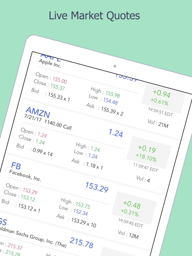 Watchlist Stock Market Quotes In Stocks Options On The App Store