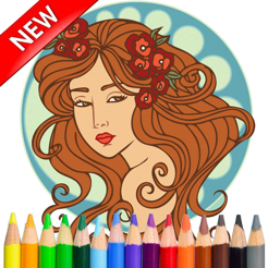 Adult Colouring Princess Girl Stress Relieved