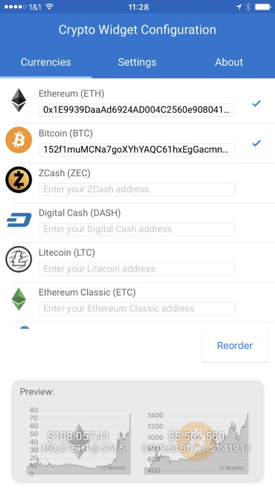 Crypto Currency Widget