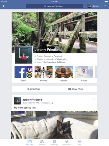 Facebook ipad ekran görüntüleri