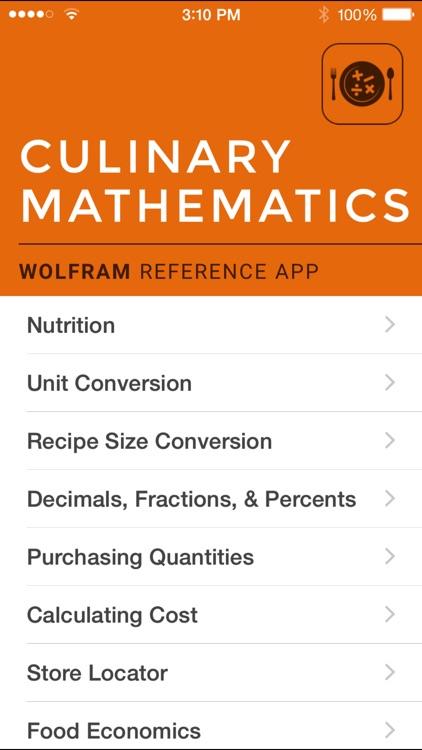 Wolfram Culinary Mathematics Reference App