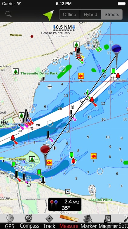 Lake St. Clair GPS Nautical charts screenshot-3