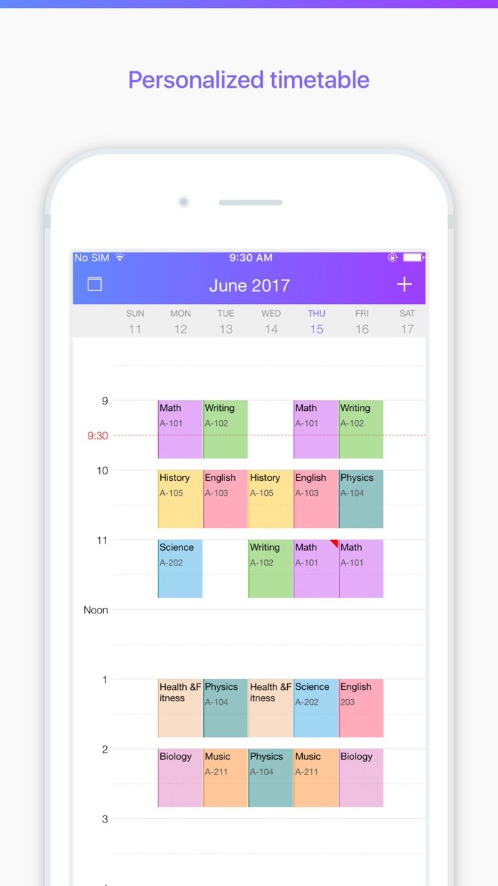 Pocket Schedule - Class Schedule, Homework Planner Screenshot