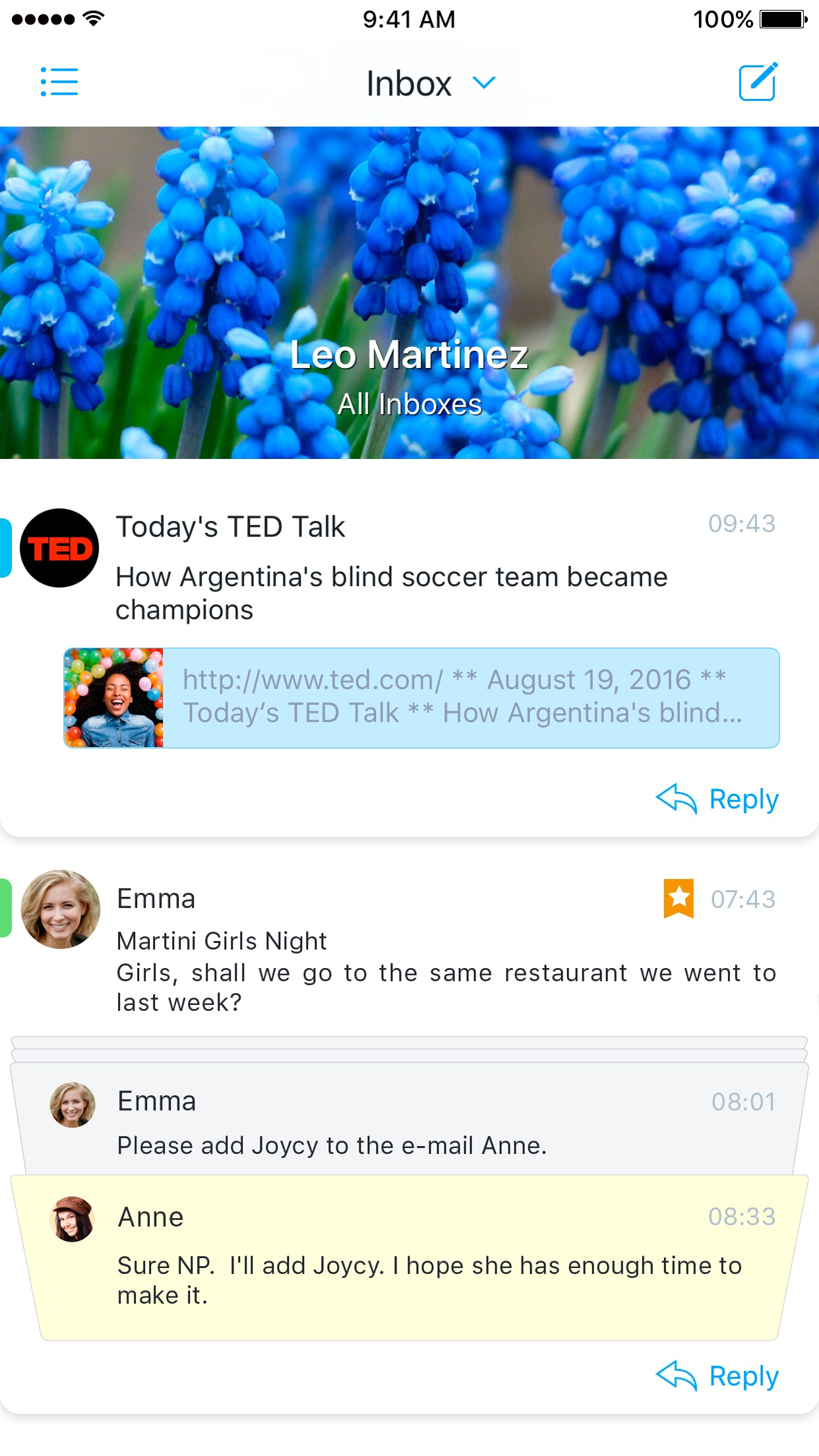 Screenshot do app Flow Mail - tames mobile inbox
