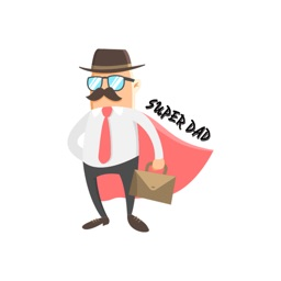 Superhero Dad Illustration Stickers