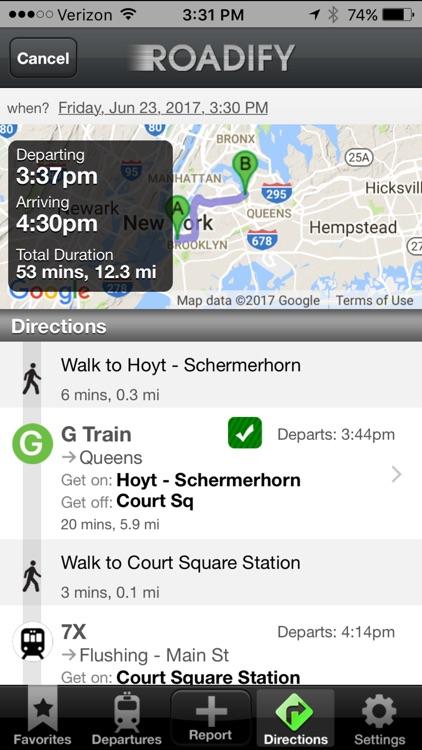 Roadify Transit: subway, bus, train, bike share
