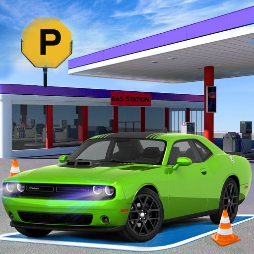 Sports Car Gas Station Parking – Highway Driving