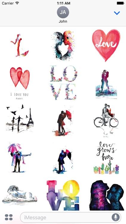Watercolor Couple Love Sticker Pack screenshot-3