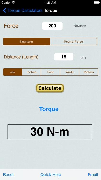 Torque Calculator, Units Conv