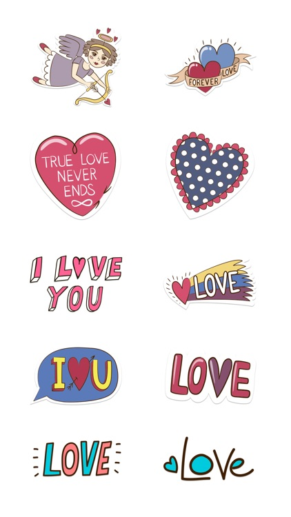 Love Stickers + Quotes - 80's Vintage & Retro Set screenshot-3