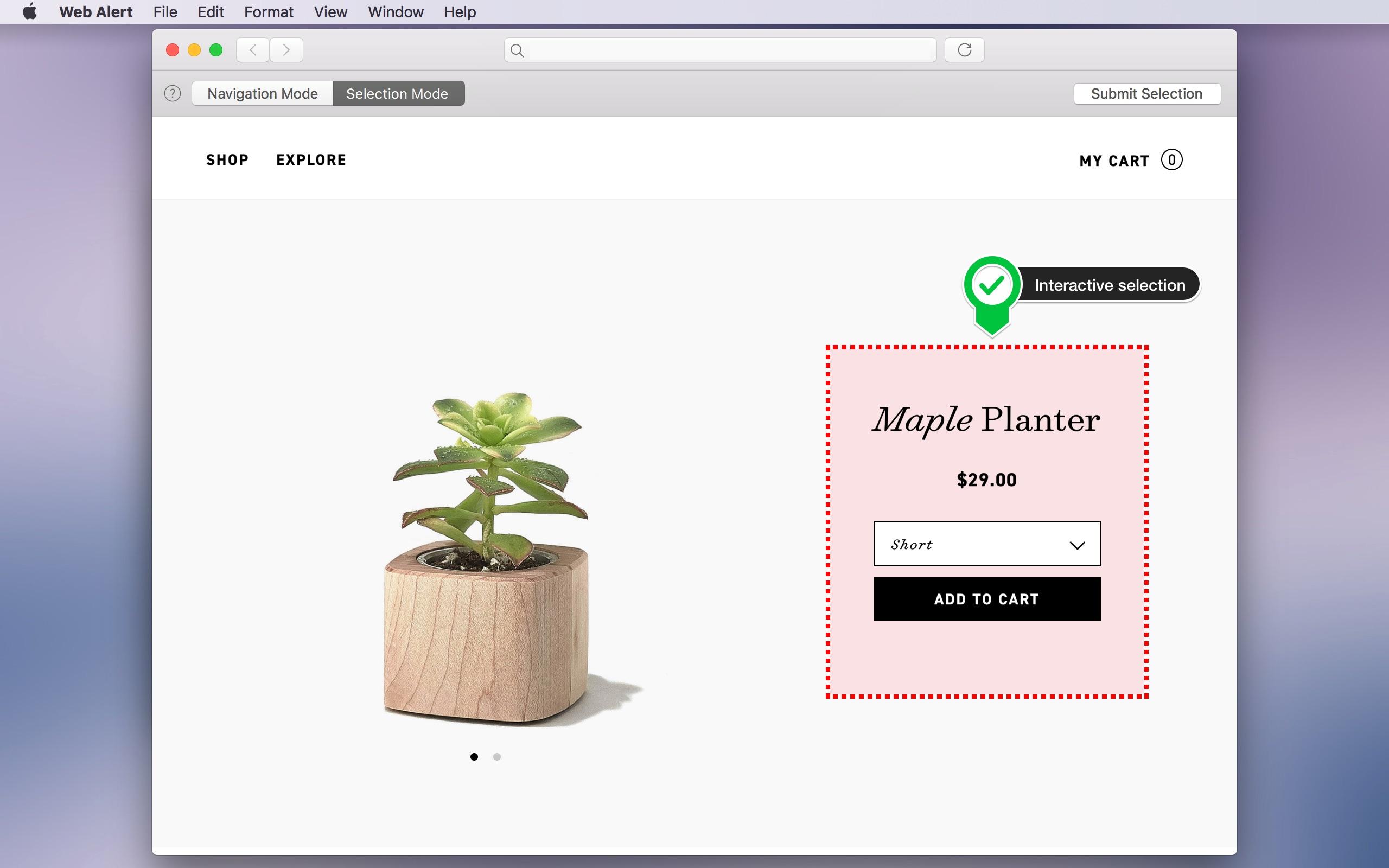 Screenshot do app Web Alert