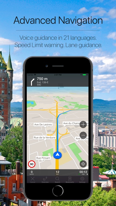 Quebec, Canada Navigation Screenshot