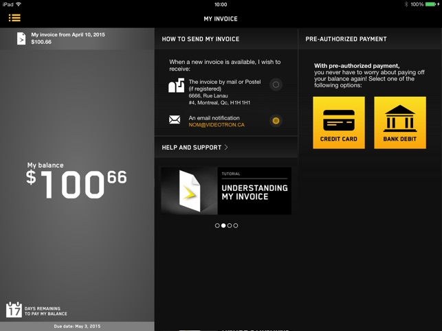 User Centre On The App Store - Videotron online invoice