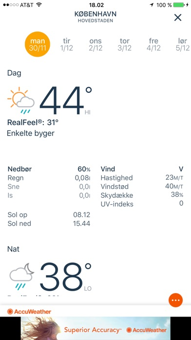 Screenshot for AccuWeather Vejret in Denmark App Store