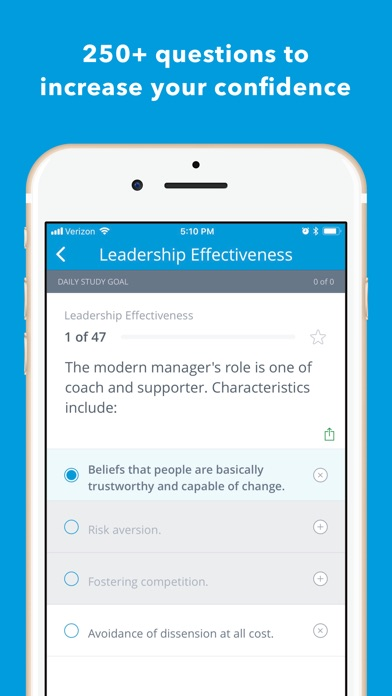Nurse Executive Review Q&A Screenshot on iOS