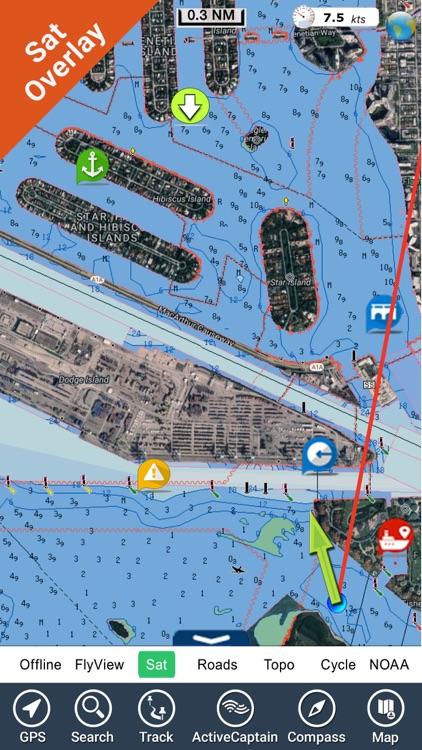 Miami to Key West GPS HD Chart