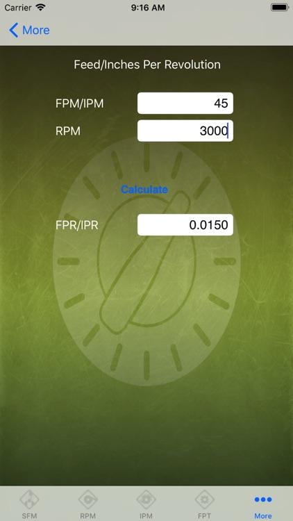 Feed Rate Calculator Lite screenshot-4