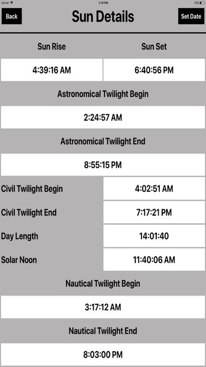 Sun Moon Rise & Set Calc