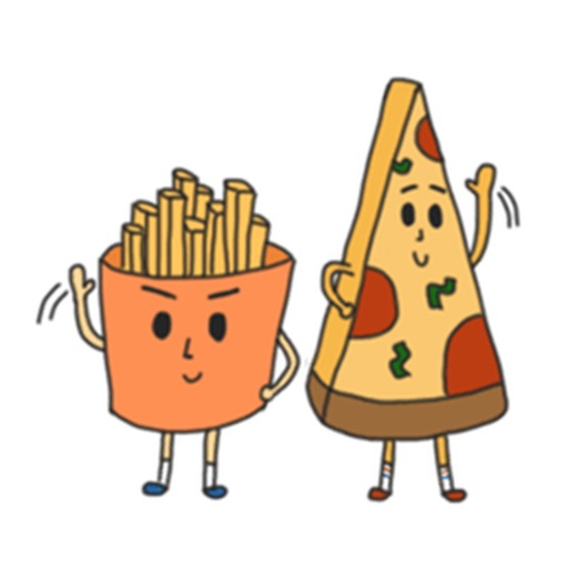 Cute Pizza And French Fries Sticker