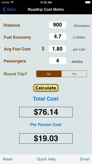 Roadtrip Gas Cost Calculator review screenshots