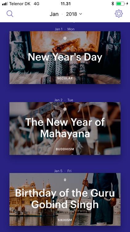 Religious Holiday Calendar