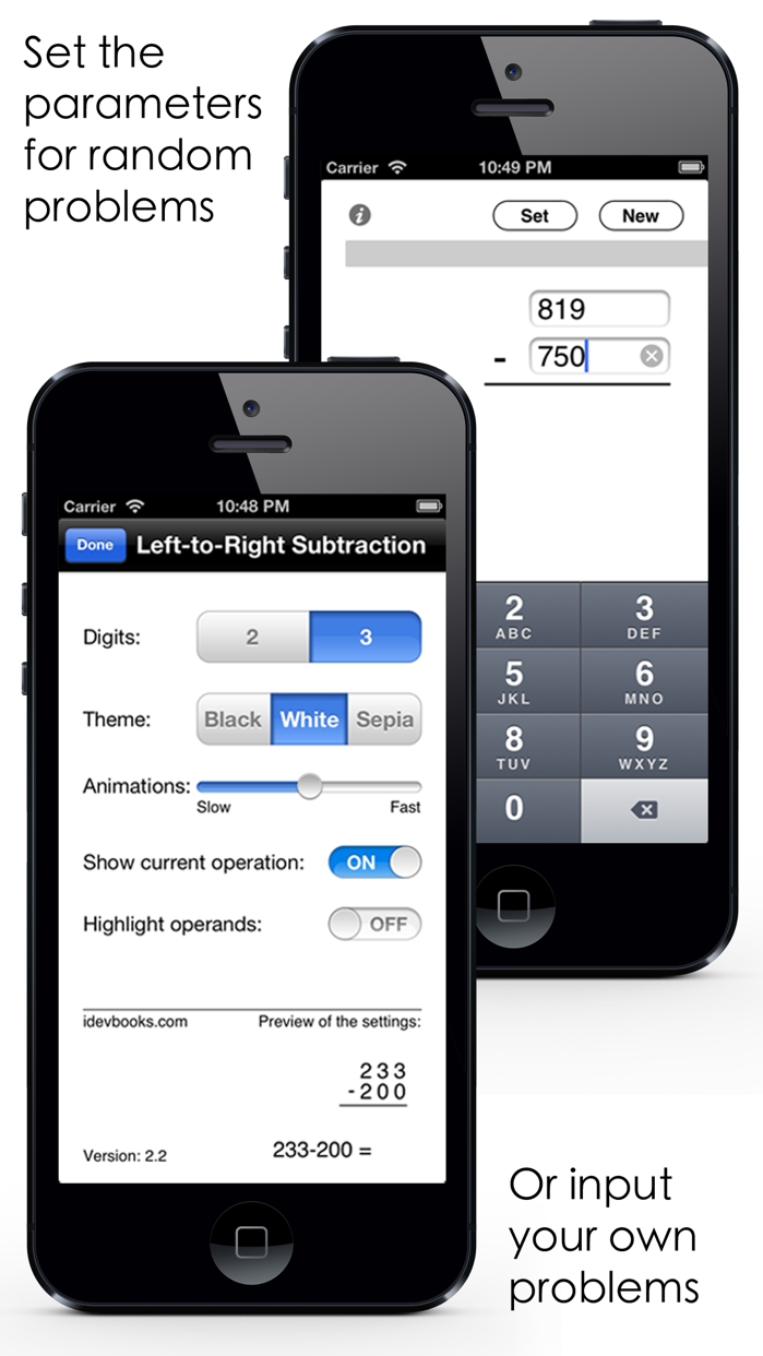 Left-to-Right Subtraction Screenshot