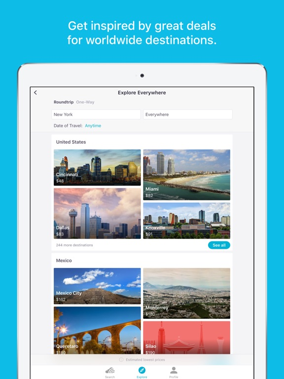 Skyscanner Travel Deals iPad