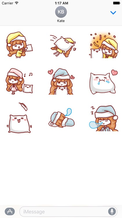 Animated Lazy Girl With Pillow