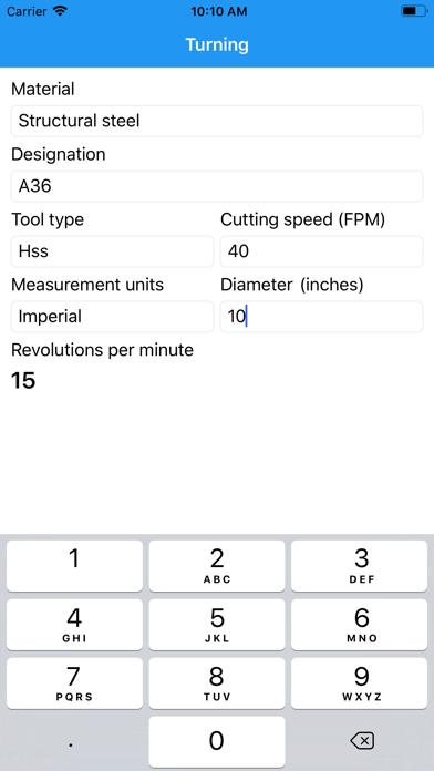 Lathe RPM Calculator Screenshot