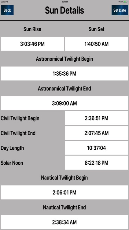 Sun & moon Day to Day Timings