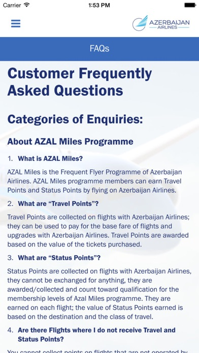Screenshot for AZAL Miles in Azerbaijan App Store