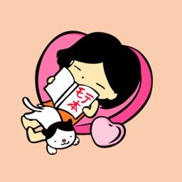 ハチワレ模様の猫と女の子スタンプ のんびり系