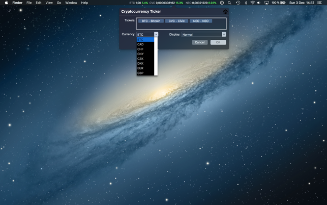 Cryptocurrency Ticker on the Mac App Store