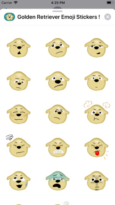Screenshot of Golden Retriever Emoji Sticker App