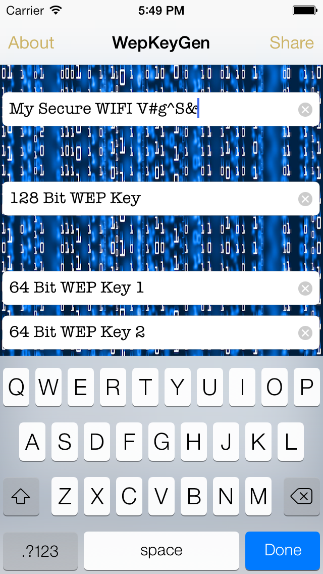 Screenshot of WEP keys for WiFi Passwords2