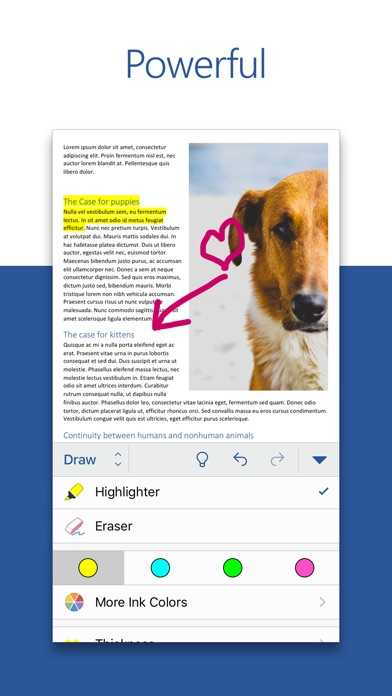 microsoft word  excel  and powerpoint for ios get updated with new storage options