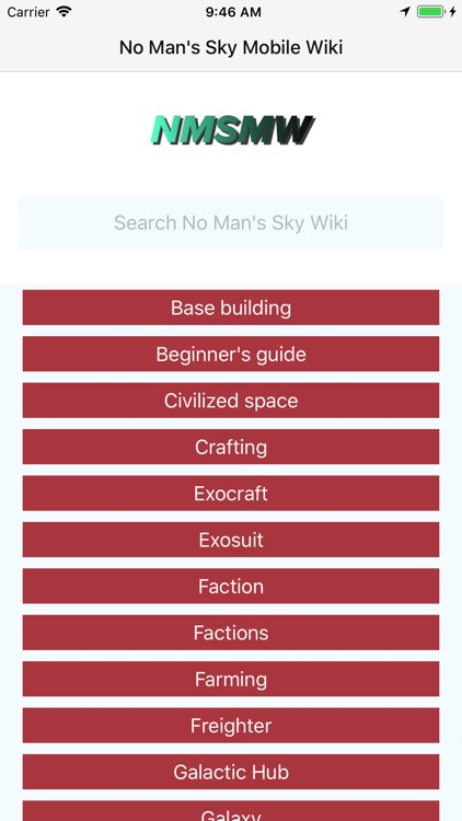 Mobile Wiki for No Man's Sky