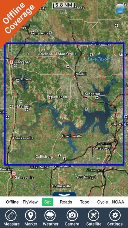 Lake Texoma GPS offline fishing charts navigator screenshot-4