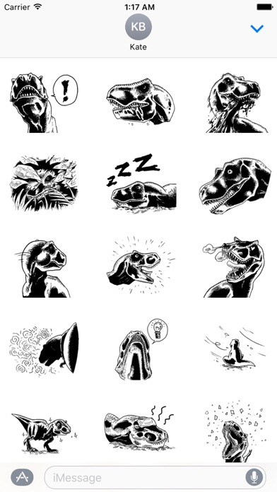 Black and White T-Rex Sticker - 窓用