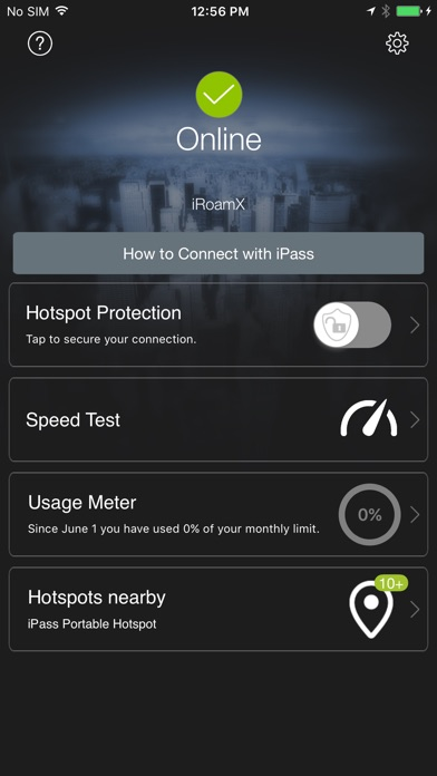 iPass SmartConnect™ Screenshot on iOS