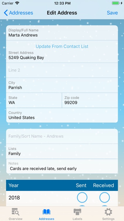 The Christmas Card List