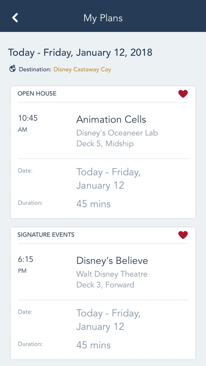 Disney Cruise Line Navigator Screenshot