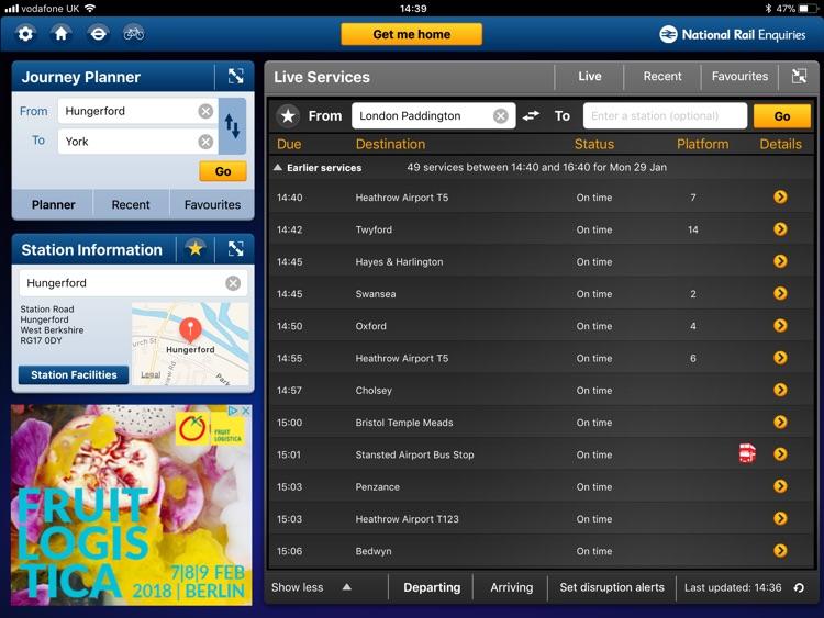 NationalRail Enquiries - iPad