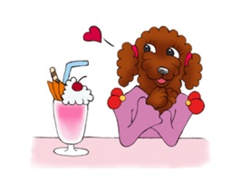 Red Poodle Dog Lady Sticker