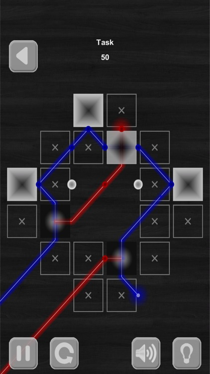 Lazers Puzzle. Colored rays
