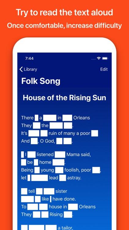 Memorize texts, lyrics, poems