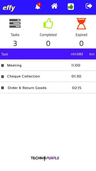 Effy TechnoPurple Track Task screenshot three
