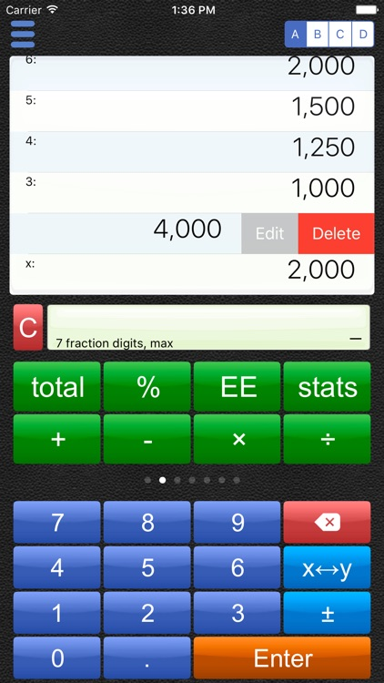 Scrolling RPN Calculator
